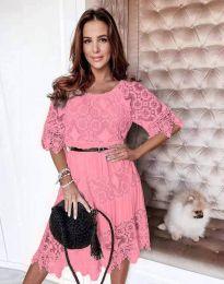 Дамска рокля с дантела в розово - код 6979