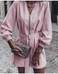 Дамска рокля с цип в розово - код 820