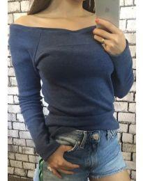 Изчистена дамска блуза в синьо - код 454