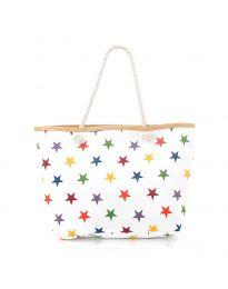 Плажна чанта в бяло на цветни  звездички - код H-9025