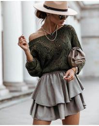 Дамски пуловер в маслено зелено - код 5966