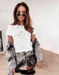 Атрактивна дамска тениска в бяло - код 4004