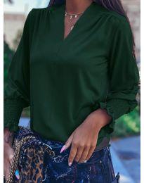 Дамска блуза в маслено зелено - код 4549