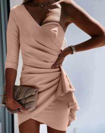 Ефектна дамска рокля в цвят пудра - код 5543