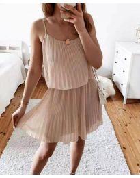 Атрактивна дамска рокля в бежово - код 8596