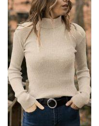 Дамска блуза с поло яка в бежово  - код 518