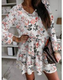 Дамска къса рокля на цветя в бяло - код 101