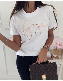 Дамска тениска в бяло със златист надпис - код 213