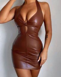 Екстравагантна дамска рокля в кафяво - код 3842