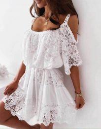 Атрактивна рокля в бяло с дантела - код 6954