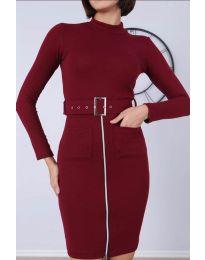 Дамска рокля в бордо - код - 2053