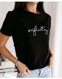 Свободна изчистена дамска тениска с надпис в черен цвят - код 3661