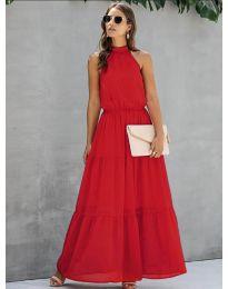 Свободна дълга рокля в червено - код 8855