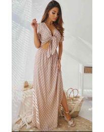 Дълга рокля с цепка в розово - код 735