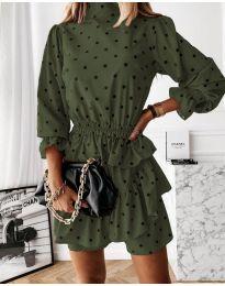 Дамска рокля в маслено зелено - код 3665