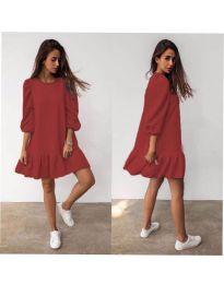 Свободна дамска рокля в цвят медно кафяво- код 784