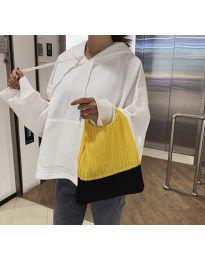 Дамска чанта с ефектна дръжка в жълто - код B525