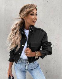 Късо дамско яке в черно - код 4693