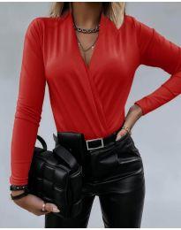 Дамско боди с ефектно деколте в червено - код 293