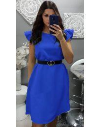 Елегантна рокля с къс ръкав в синьо - код 703