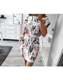 Дамска рокля в бяло с ефектен десен  - код 1021