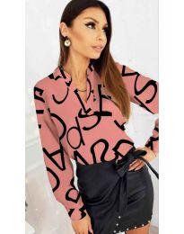 Розова дамска риза с надписи - код 823