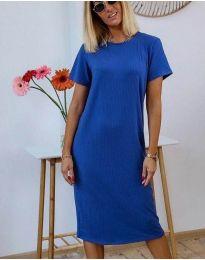 Изчистена дамска рокля в синьо - код 81800