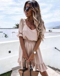 Кокетна рокля в бежово - код 6460