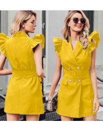 Рокля в жълто с къси ръкави с набори - код 311