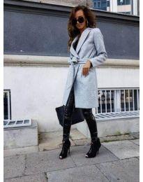 Елегантно дамско палто в сиво - код 7940