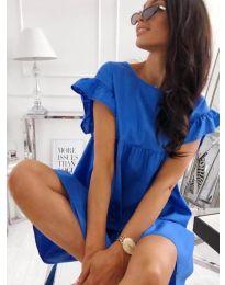 Разкроена рокля в син цвят - код 3145