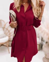Дамска рокля в цвят бордо - код 7490