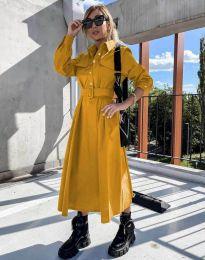 Дамска рокля в цвят горчица - код 1467