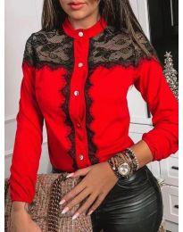Червена дамска риза с черна дантела - код 069