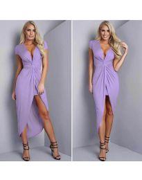Елегантна рокля с цепка в лилаво - код 5099