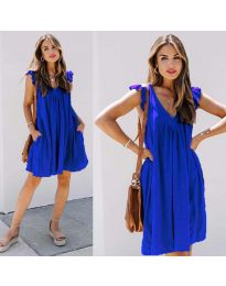 Свободна изчистена рокля в тъмно синьо - код 5090