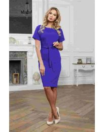 Изчистена рокля в тъмно синьо - код 3698