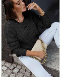 Плетен дамски пуловер в черно - код 1620