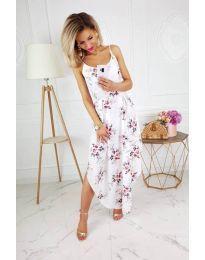 Бяла дамска рокля на цветя с тънки презрамки - код 839