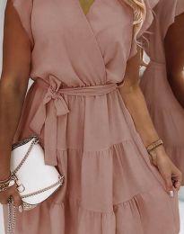 Дамска рокля в цвят пудра - код 2345