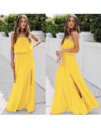 Дълга рокля с цепка в цвят жълто - код 061