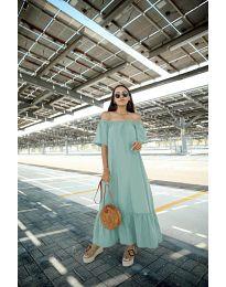 Дълга рокля в цвят мента - код 3636
