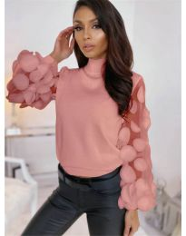 Блуза - код - 3505 - пудра