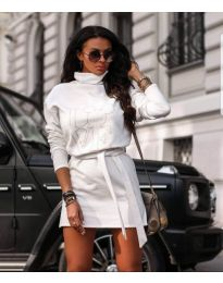 Бяла рокля с поло яка и принт - код 435