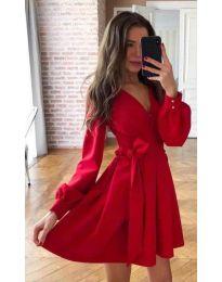 Стилна рокля с дълги ръкави в червено - код 810