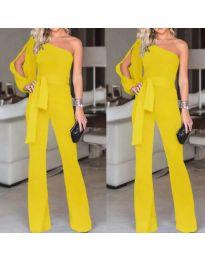 Елегантен дамски гащеризон в жълто с един ръкав - код 249