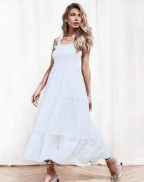 Ефирна дамска рокля в бяло - код 1729