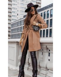Дамско палто с колан в цвят капучино - код 3839