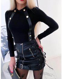 Черна дамска блуза с кожени елементи и копчета - код 3498