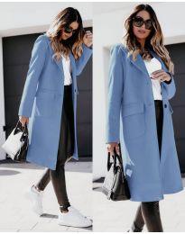 Дълго дамско палто в синьо - код 3435